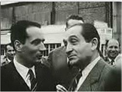 François Mitterrand et Pierre Mendès-France après la Conférence de Genève