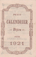 Calendrier 1921 Courtinat