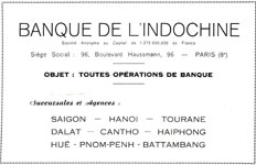 Banque de l'Indochine Paris Saigon